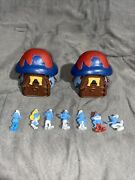Vintage The Smurfs Toy Lot 2 1978 House With 7 Figures