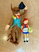 Vintage Baps German Moveable Little Red Riding Hood Girl And Wolf Felt Dolls Toys