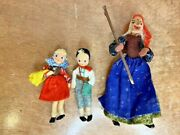 Vintage Baps German Hansel And Gretel And Witch Moveable Felt Dolls Toys
