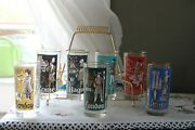 Vintage Mcm Libbey International Cities Of The World 7 Hi Ball Glasses W/ Caddy