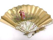 19th C. French Hand Painted On Silk Rococo Lovers In The Garden Scene And Mop Fan