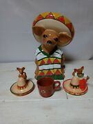 Vintage Clay Art Usa Ay Chihuahua Cookie Jar, Mexican Dog 1999 W/ Salt And Peppe