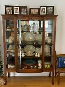 Antique China Cabinet, Curved Glass