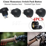 Black 12mm Metal Boat Horn Momentary Push Button Stainless Steel Starter Switch