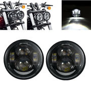 Pair 4.65'' Motocycle Front Fog Lamps Led Headlights For Harley Wide Glide Fxdwg