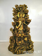 15china Collection Old Brass Precision Casting Nine Dragons Guanyin Bodhisattva