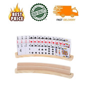 Curved Wooden Playing Card Holder Tray Rack Organizer Set Of 2 Solid Card