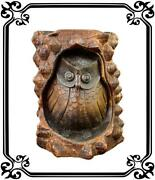 French Antique Black Forest Hand Carved Wood Owls