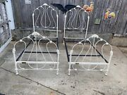 Pair Of Virginia Brass Twin Antique Ornate Cast Iron Beds Very Nice.