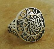 Intricate .925 Sterling Silver Sundial Ring Size 6 Style R2083