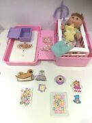 Vintage 80and039s Cabbage Patch Love And039nand039 Go Nursery Cot Pink Case Doll Teddy Toys V97