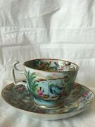 19th Century Rose Mandarin Cup And Saucer High End Numbered Very Rare Perfect