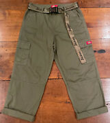 Calif Juniors Belted Cropped High Waist Olive Green Cargo Pants Sz 11/30