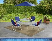 6 Piece Outdoor Patio Dining Set Table Chairs Umbrella Garden Furniture Blue New