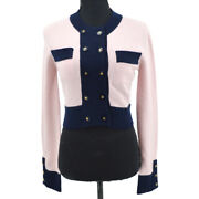 Cc Button Long Sleeve Knit Cardigan Pink Navy Bi-color Authentic 60215