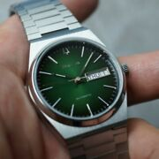 Vintage Bulova Bb Automatic Day Date Green Black Two Tone Dial Duble Mens Watch