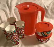 Tupperware Set Orange Classic Beverage Pitcher Infuser Insert Tumblers And Bowls