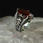 Aaa Quality Solid Sterling 925 Silver Jewelry Africa Red Ruby Menand039s Ring