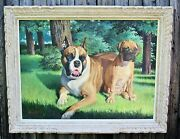 Jackson Grey Storey Original Oil Painting Of Boxer Dog And Puppy In Frame 46 X 36