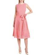 Anne Klein 139 Embroidered Eyelet A-line Dress Camellia Pink Size 12