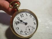 Large Antique Seth Thomas Pocket Watch In Gold Filled Case