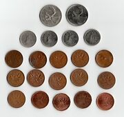21 Old Canada Coins 25 10 Cents Penny 1929 1952 1964 1965 1967 1970 1974 1975 +