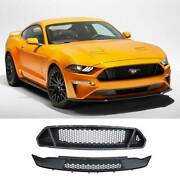 Gt Paint Black Front Bumper Grill Grille Mesh 2pcs For Ford Mustang 2018-2021