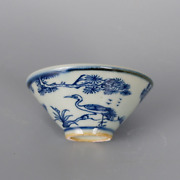 Antique Chinese Deer Crane Teacup Blue And White Porcelain Small Bowl 3.2 Inch