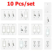 10 Pcs Blank Duplex Toggle Outlet Rocker Light Switch Wall Cover 1 2 3 Gang