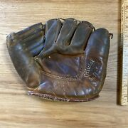 Vintage Softball Glove 1940s Sporting Goods Brand 60-4270 Leather Brown