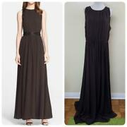 St. John Embellished Silk Georgette Evening Gown Plus Size 14 Brown 1795