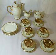 Vintage 40and039s Rosenthal Pompadour Ivory And Gold Tea Service For 6