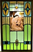 Victorian Stained Glass Panel Young Lady Playing A Lyre Af. Alfred Siefert.