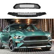 Honeycomb Paint Black Front Bumper Grill Grille Mesh For Ford Mustang 2018-2021
