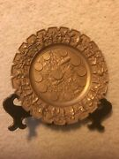 Vintage German Solid Brass Alms Collecting Dish Dec. W/.grape Vines Old Coins