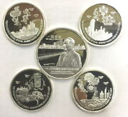 Macao 1999 Return To China Set Of 5 Silver Medalsproof