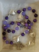 Handcrafted Anglican Episcopal Protestant Rosary Prayer Beads Purple Silver See