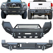 Vijay For 16-19 Tacoma W/winch Plate And Led Light Front And Rear Bumper