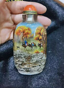 Natural Crystal Inside Painted Travel Snuff Bottle Only One