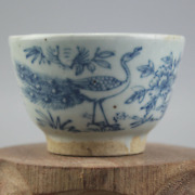 2.8inch Chinese Antique Blue And White Porcelain Flower Bird Cup Bowl Home Decor