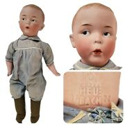 Antique German Bisque 12 Heubach Whistling Jim Doll Original Clothes Early Vtg