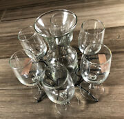 Vintage Clear Glass Cordial Set With Decanter, 6 Stemmed Glasses, And Wire Rack