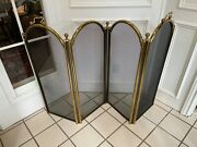 Heavy Antique Vintage Fireplace 4 Panel Folding Brass Fire Screen With Handles