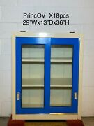 29wx13dx36h, Sliding Glass Door Lab Overhead Cabinets Duralab Glossy Blue