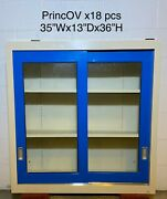 35wx13dx36h, Sliding Glass Door Lab Overhead Cabinets Duralab Glossy Blue