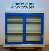 41wx13dx36h, Sliding Glass Door Lab Overhead Cabinets Duralab Glossy Blue