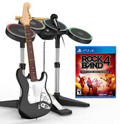 Rock Band 4 Playstation 4 Complete Band Set Bundle W/game Ps4 Drum/mic/guitar