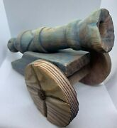 Vintage Old Antique Carved Wood Cannon Statue Sculpture Handmade Large Cannon.