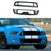 Gt500 Dry Carbon Fiber Front Bumper Grill Grille Mesh For Ford Mustang 2009-2014