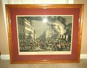 Orig. 1854 Currier And Ives The Life Of A Fireman-the Ruins Large Folio Print